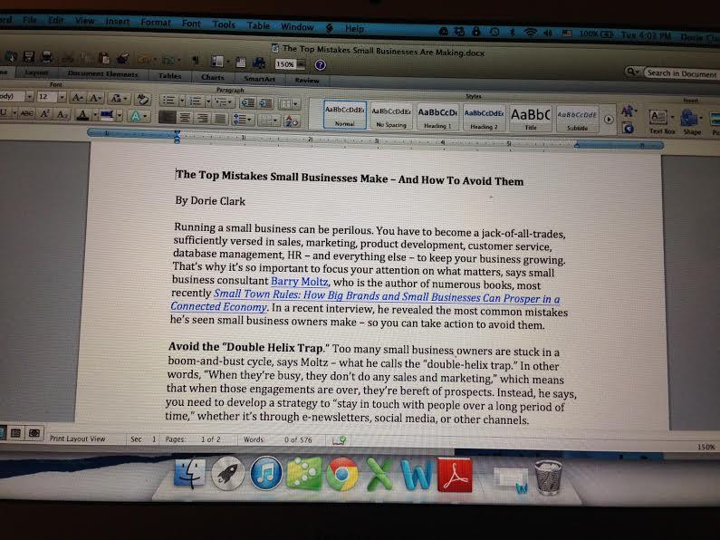 Dorie's Blog Post