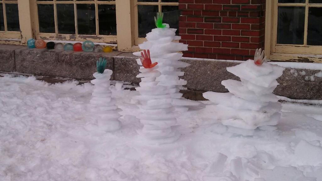 Ice gloves sculpture